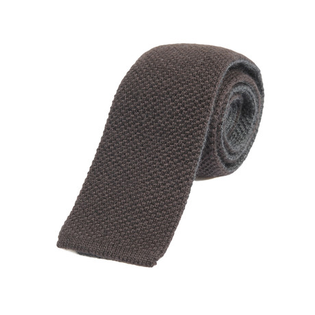 Knitted Straight Textured Tie // Cocoa + Taupe