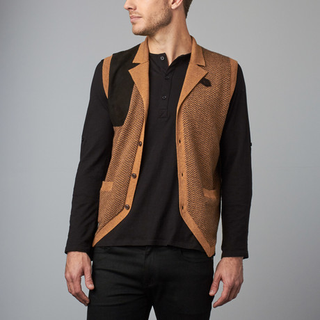 Cesarani // Cashmere Blend Herringbone Waistcoat // Camel (S)