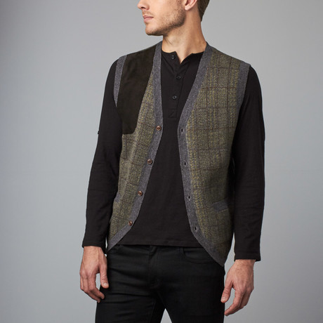 Cesarani // Cashmere Blend Plaid Waistcoat // Olive