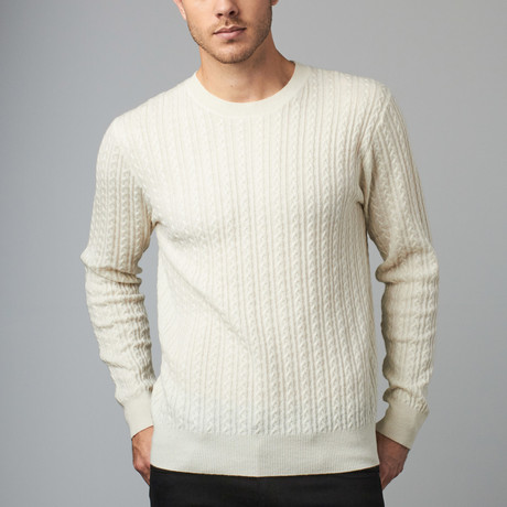 Cesarani // Cashmere Blend Cable Crew // Ivory (S)