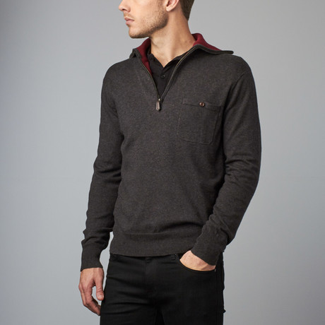 Cesarani // Cashmere Blend Zip Turtle // Charcoal (S)