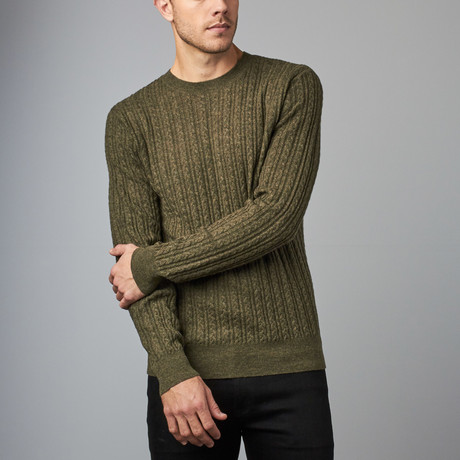 Cesarani // Cashmere Blend Wool Cable Crew // Olive (S)