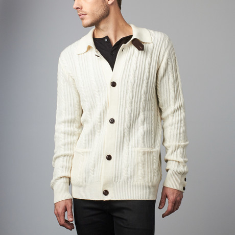 Cesarani // Cashmere Blend Cable Cardigan // Ivory (S)