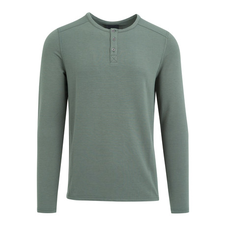 Three Button Henley // Pine Green
