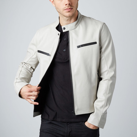 Cheltenham // Rogue Leather Moto Jacket // Stone (XL)