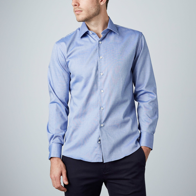 Textured dress shirt blue us 15r modern fit shirts for Modern fit dress shirt