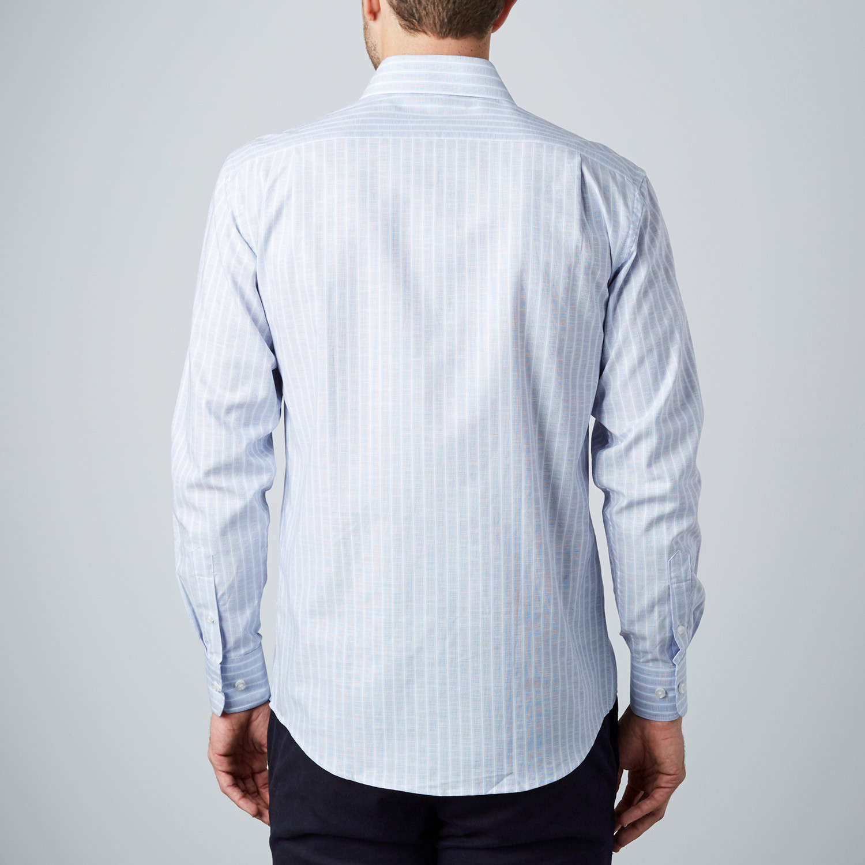Pinstripe Dress Shirt Light Grey Blue Us 15r
