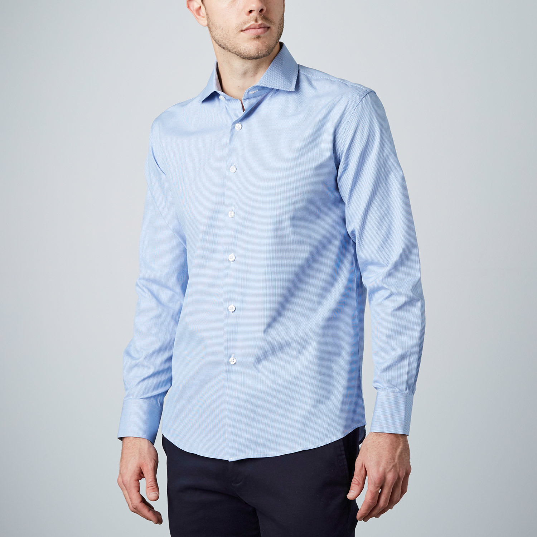 Check dress shirt light blue us 15r modern fit for Modern fit dress shirt