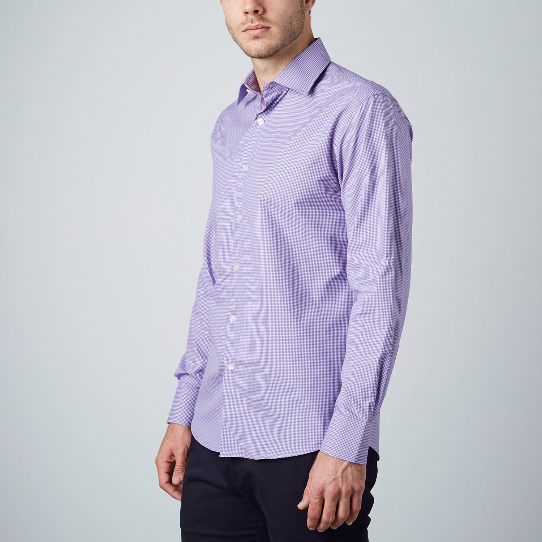 Plaid dress shirt purple us 15r modern fit shirts for Modern fit dress shirt