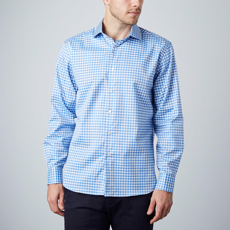 Gingham dress shirt light blue us 15r modern fit for Modern fit dress shirt