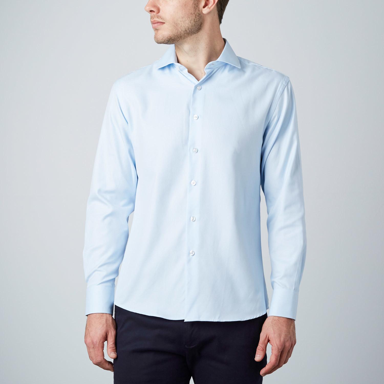 Classic dress shirt powder blue us 15r modern fit for Modern fit dress shirt