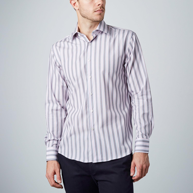 Modern Fit Dress Shirt Of Pinstripe Dress Shirt Pink Grey Us 15r Modern