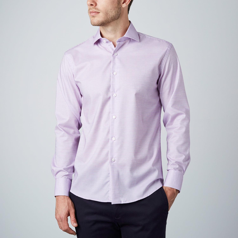 Box dress shirt purple us 15r modern fit shirts for Modern fit dress shirt