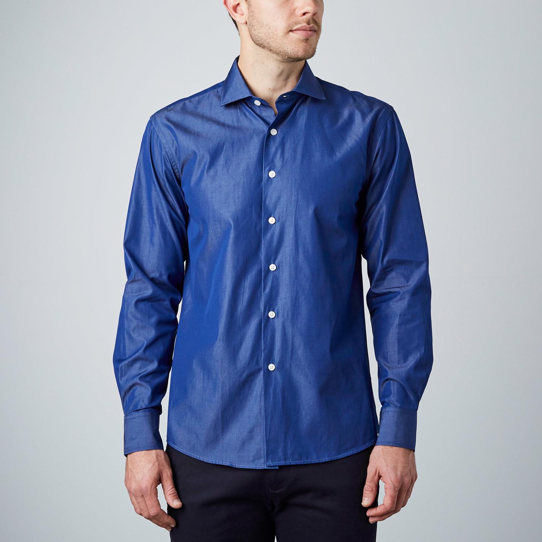 Silk dress shirt navy us 15r modern fit shirts for Modern fit dress shirt