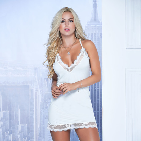 Lace Detail Babydoll + G-String // Ivory