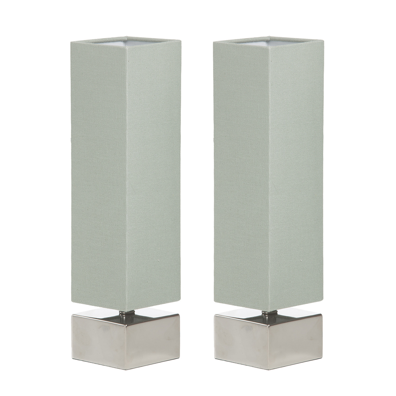 Modern Square Table Lamp // Celadon + White // Set of 2 ...