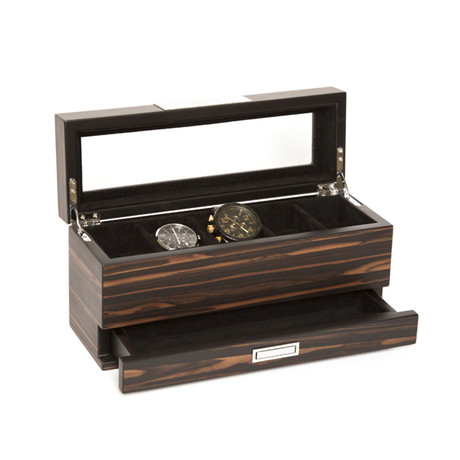 5-Slot Watch Holder + Jewelry Tray (Brown)