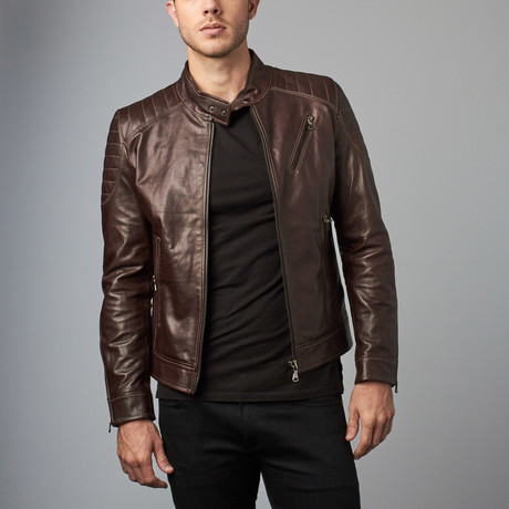 U411 Leather Biker Jacket // Dark Brown (Euro: 46)