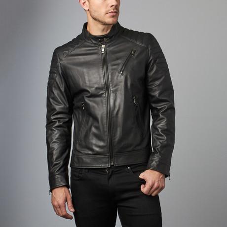 U411 Leather Biker Jacket // Black