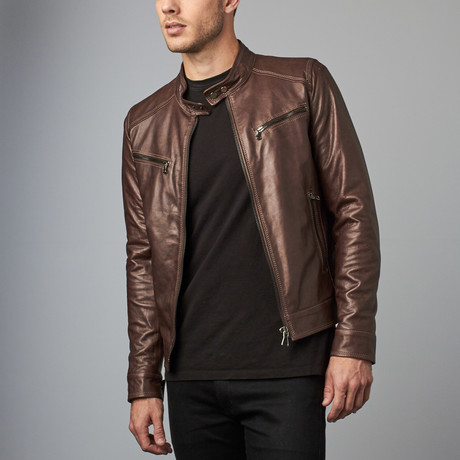 Hamilton Lamb Leather Biker Jacket // Dark Brown (Euro: 44)