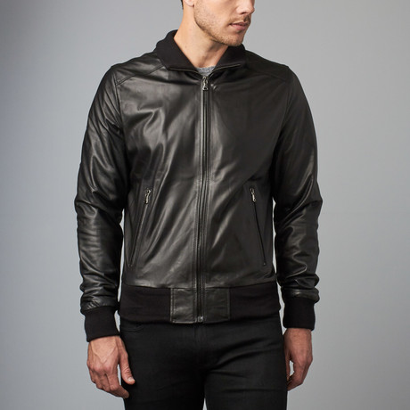 107 Lamb Leather Bomber Jacket // Black (Euro: 44)