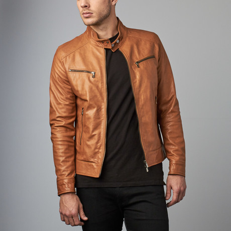 Hamilton Lamb Leather Biker Jacket // Tan (Euro: 44)