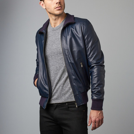 107 Lamb Leather Bomber Jacket // Blue (Euro: 44)