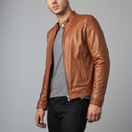 Ted Lamb Leather Biker Jacket // Tan (Euro: 44)