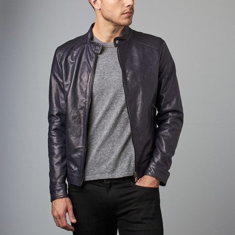 Ted Lamb Leather Biker Jacket // Blue (Euro: 44)