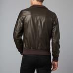 107 Leather Bomber Jacket // Dark Brown (Euro: 46)