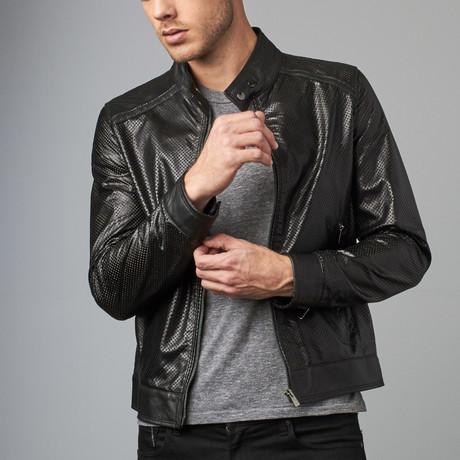 Emiliany Perforated Leather Biker Jacket // Black