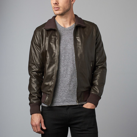 107 Leather Bomber Jacket // Dark Brown (Euro: 44)