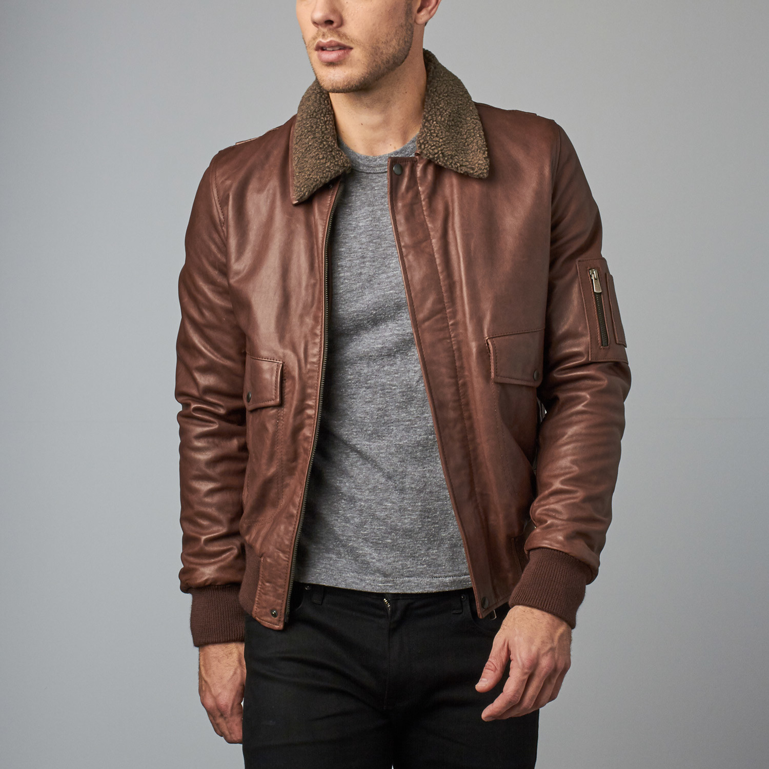 afc2157de97 Aviator Lamb Leather Bomber Jacket    Brown (Euro  46) - AD Milano ...