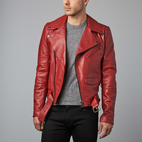 Chiodo Leather Biker Jacket // Red