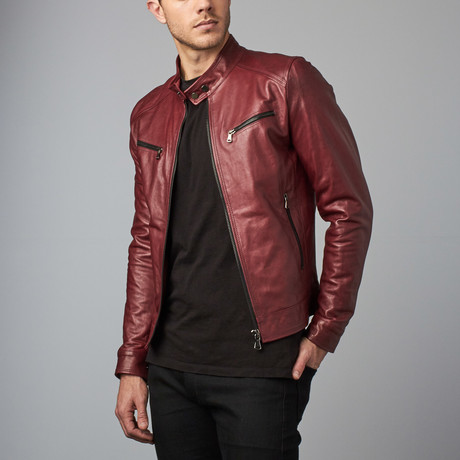 Hamilton Lamb Leather Biker Jacket // Red + Purple (Euro: 44)