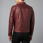 Ted Lamb Leather Biker Jacket // Red Purple (Euro: 46)
