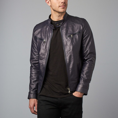 Hamilton Lamb Leather Biker Jacket // Blue (Euro: 44)