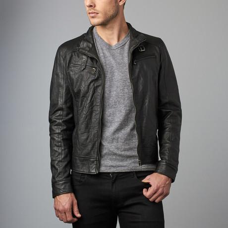 Max Creased Leather Biker Jacket // Black