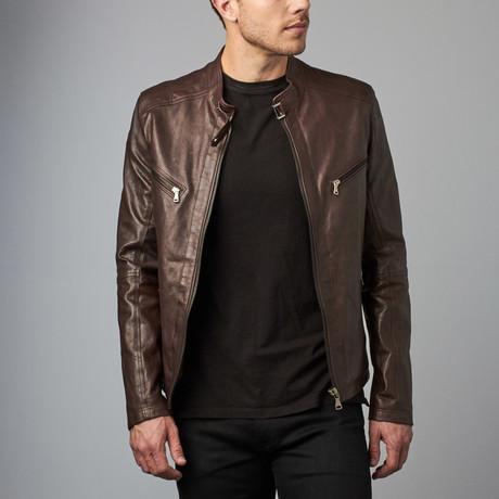 Daniel Leather Biker Jacket // Dark Brown (Euro: 56)