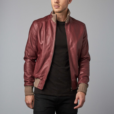 107 Leather Bomber Jacket // Red Purple (Euro: 44)