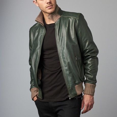 107 Leather Bomber Jacket // Green (Euro: 54)