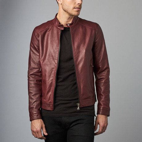 Ted Lamb Leather Biker Jacket // Red + Purple (Euro: 44)