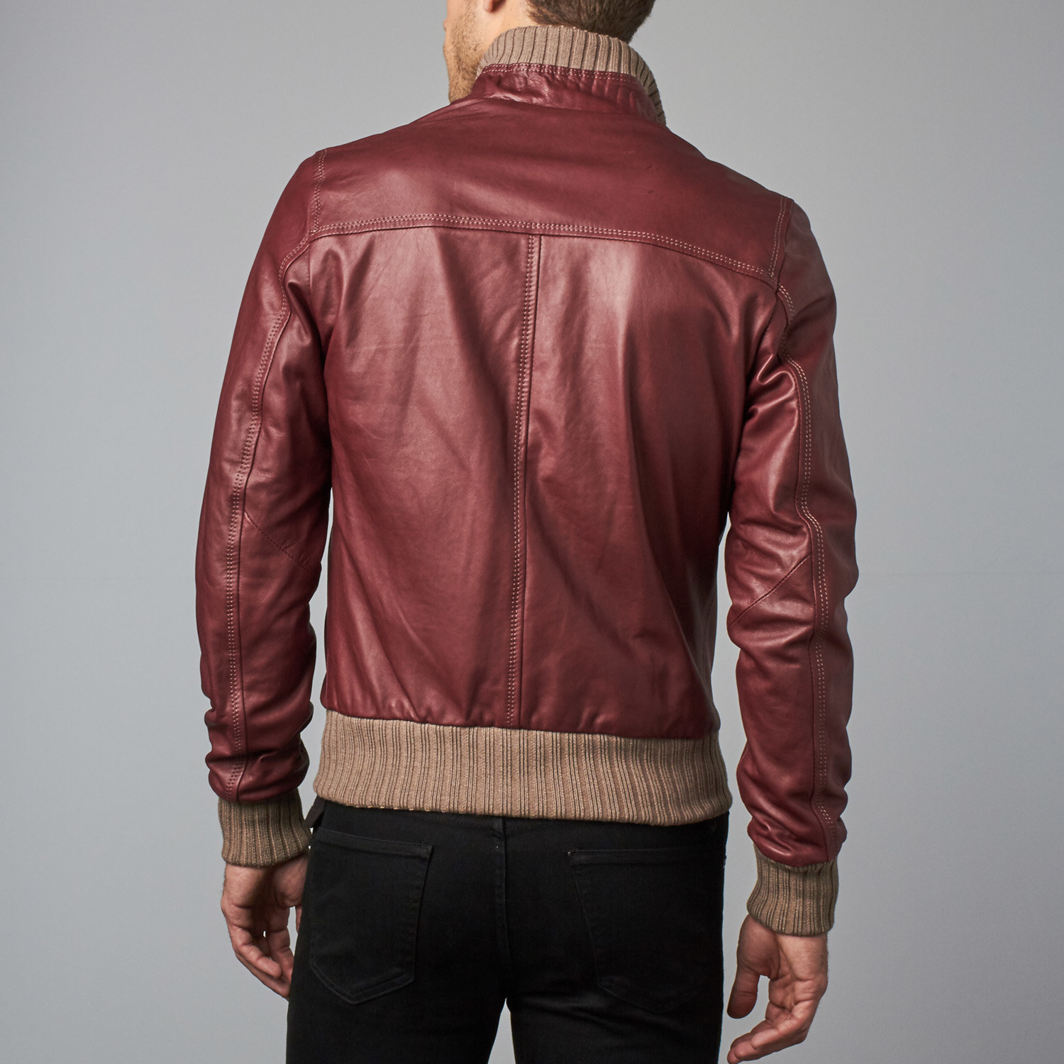 6f06f439c8c 107 Leather Bomber Jacket    Red Purple (Euro  50) - D Arienzo ...