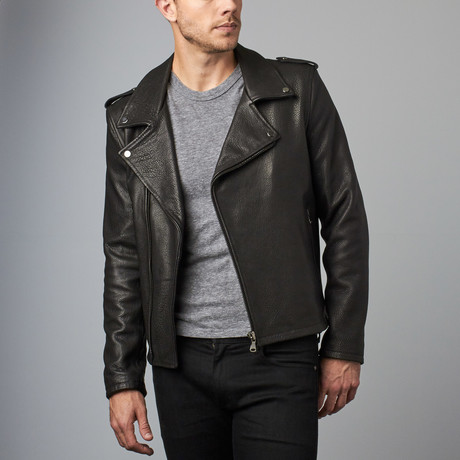 Clou Wizened Lamb Leather Biker Jacket // Black (Euro: 44)