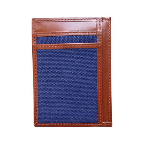 Canvas + Leather Money Clip // RFID Wallet (Gray)