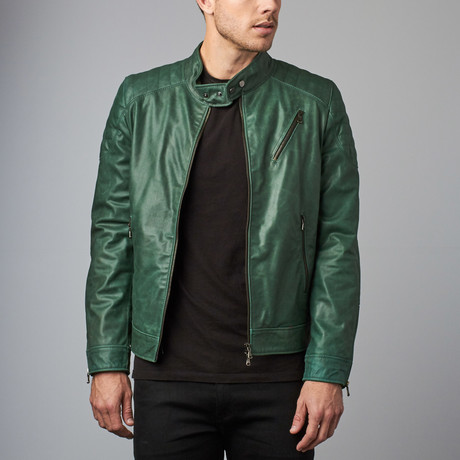 Leather Biker Jacket // Green