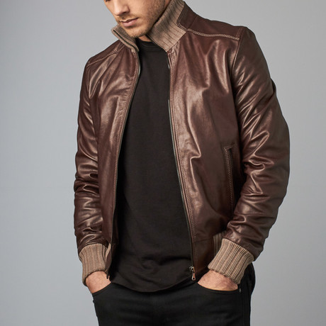 107 Leather Bomber Jacket // Dark Brown + Beige (Euro: 44)
