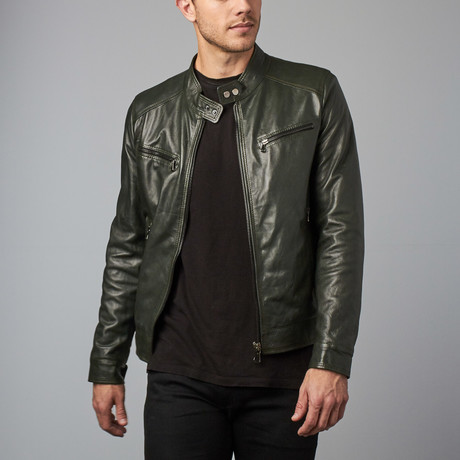 Hamilton Lamb Leather Biker Jacket // Green (Euro: 44)