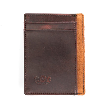 Antique Leather Money Clip // Brown