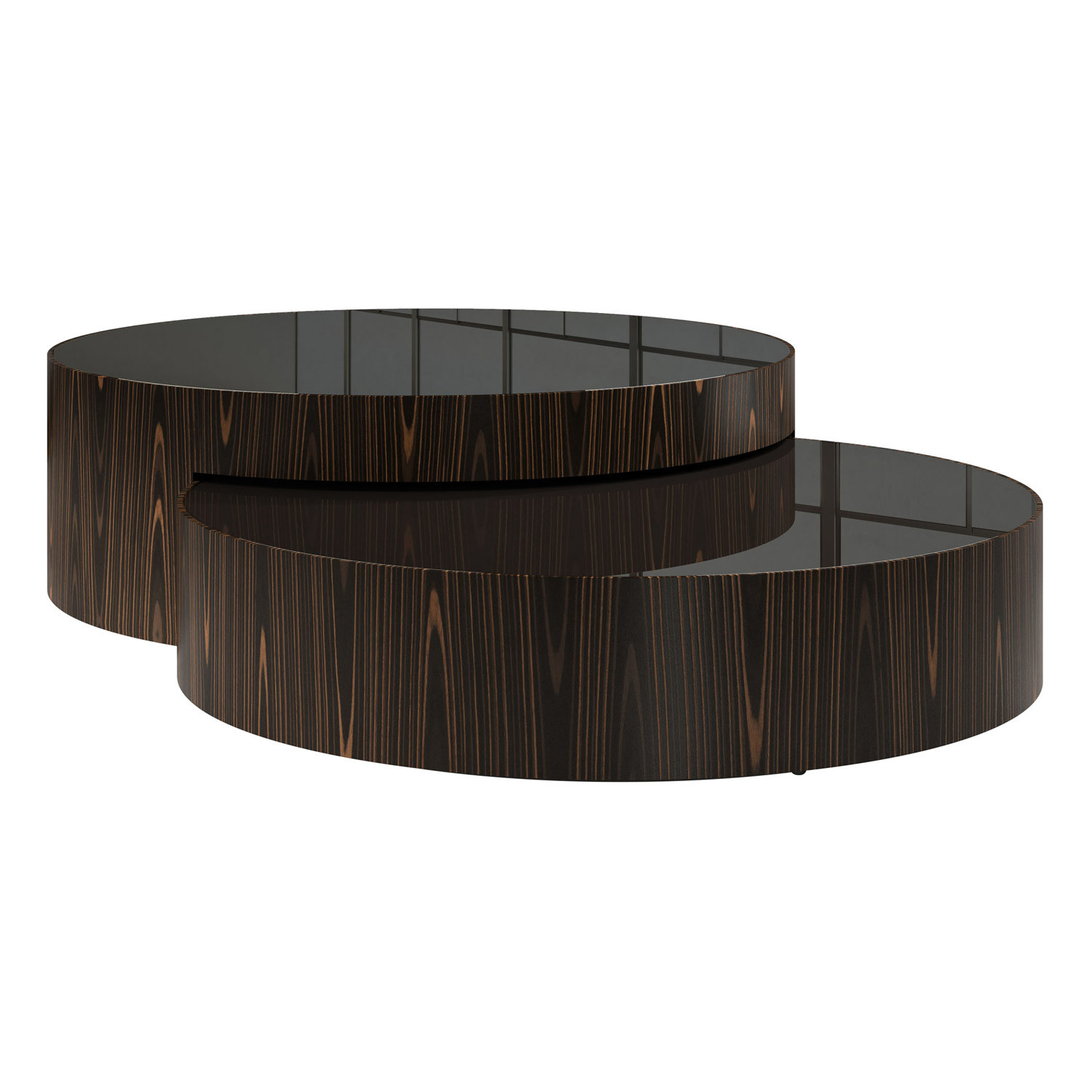 Berkeley Nesting Coffee Tables Black Glass Cathedral Ebony